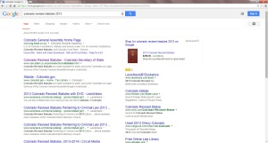 Search results in Google for 2013 Colorado Revised Statutes