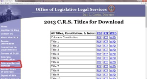 The official version of the Colorado Revised Statutes.